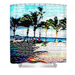Hollywood Beach Fla Digital Shower Curtain by Dick Sauer
