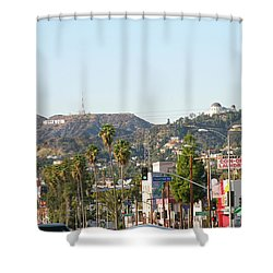 Hollywood Sign Above Sunset Blvd. Shower Curtain