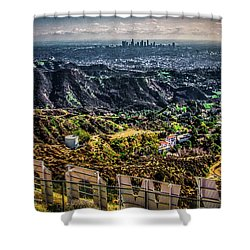 Shower Curtain featuring the photograph Behind The Sign by April Reppucci
