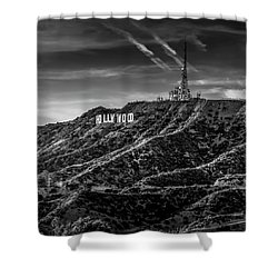 Hollywood Sign - Black And White Shower Curtain