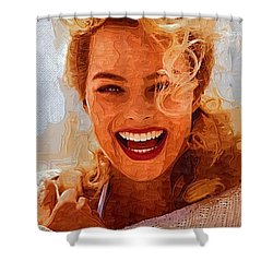Hollywood Star Margot Robbie Shower Curtain