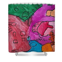 Shower Curtain featuring the painting Hollywood Studios 3 by Artists With Autism Inc