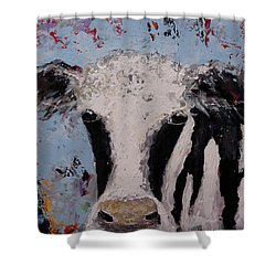 Holstein Cow Painting Farm House Wall Art Cow Art Shower Curtain