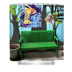 Holy Bench Shower Curtain