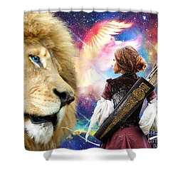 Holy Calling Shower Curtain by Dolores Develde