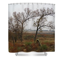 Holy Cross Shrine In The Distance Shower Curtain
