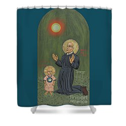 Shower Curtain featuring the painting Holy Father Pedro Arrupe, Sj In Hiroshima With The Christ Child 293 by William Hart McNichols