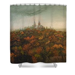 Holy Hill Rain Storm Shower Curtain