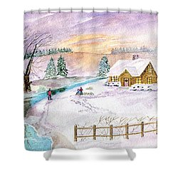 Shower Curtain featuring the painting Home For Christmas by Melly Terpening