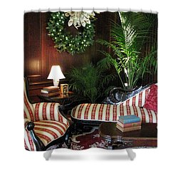 Home For The Holidays Shower Curtain by Angela Davies
