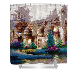 Shower Curtain featuring the painting Home In Paradise by Mario Carini