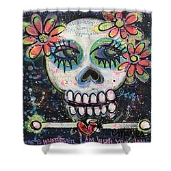Shower Curtain featuring the painting Home Is Wherever I Am With You An Abstract Skull Painting About Love by Laurie Maves ART