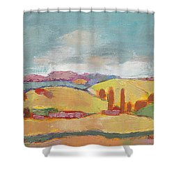 Shower Curtain featuring the painting Home Land by Becky Kim