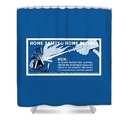Shower Curtain featuring the painting Home Safety Is Home Defense by War Is Hell Store