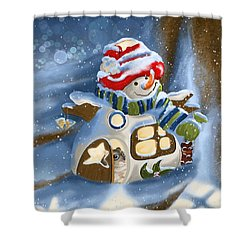Shower Curtain featuring the painting Home Sweet Home by Veronica Minozzi