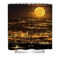 Home Sweet Hometown Bathed In The Glow Of The Super Moon  Shower Curtain