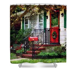 Home That Always Celebrates Christmas Shower Curtain by Susan Savad