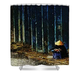 Shower Curtain featuring the digital art Homeless In Hanoi by Cameron Wood
