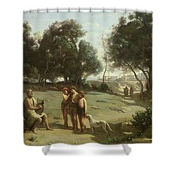 Homer And The Shepherds In A Landscape Shower Curtain by Jean Baptiste Camille Corot
