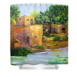 Shower Curtain featuring the painting Hometown by Saundra Johnson