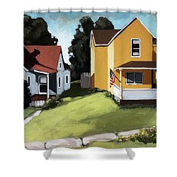 Hometown - Urban Scene Oil Painting Shower Curtain
