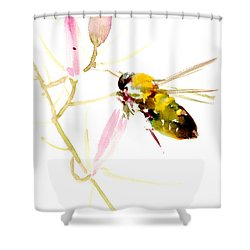 Honey Bee And Pink Flower Shower Curtain