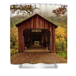 Shower Curtain featuring the photograph Honey Run Covered Bridge In Autumn by James Eddy