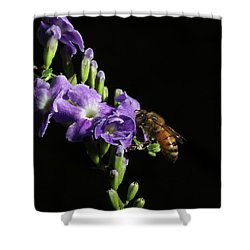 Honeybee On Golden Dewdrop Shower Curtain by Richard Rizzo