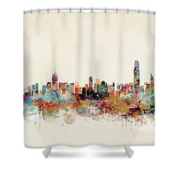 Shower Curtain featuring the painting Hong Kong Skyline by Bri B