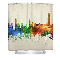 Hong Kong Skyline Chhk05 Shower Curtain by Aged Pixel