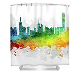 Hong Kong Skyline Mmr-chhk05 Shower Curtain by Aged Pixel
