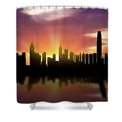 Hong Kong Skyline Sunset Chhk22 Shower Curtain by Aged Pixel