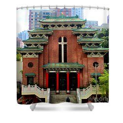 Shower Curtain featuring the photograph Hong Kong Temple by Randall Weidner