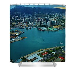 Honolulu Waterfront At Dawn Shower Curtain