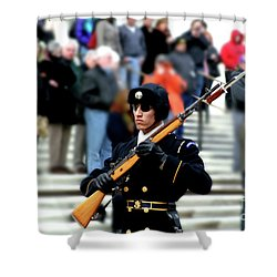 Honor Guard At Arlington Cemetery Shower Curtain by April Sims