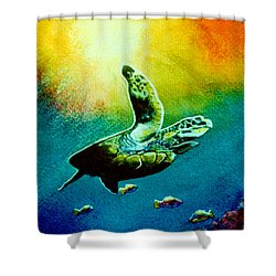 Honu Hawaiian Sea Turtle #154  Shower Curtain by Donald k Hall
