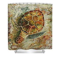 Shower Curtain featuring the painting Honu On The Beach by Darice Machel McGuire