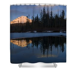 Hood Alpenglow Shower Curtain by Mike  Dawson