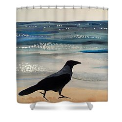 Hooded Crow At The Black Sea By Dora Hathazi Mendes Shower Curtain