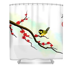 Hooded Warbler Prosperity Asian Art Shower Curtain