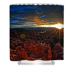 Hoodoos At Sunrise Bryce Canyon National Park Shower Curtain by Sam Antonio