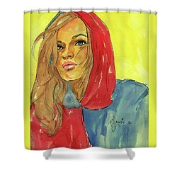 Shower Curtain featuring the painting Hoody by P J Lewis