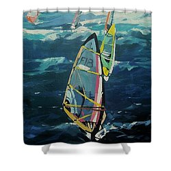 Shower Curtain featuring the painting Ho'okipa Surf by Andrew Drozdowicz