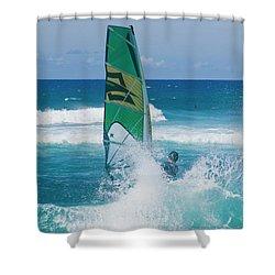 Hookipa Windsurfing North Shore Maui Hawaii Shower Curtain by Sharon Mau