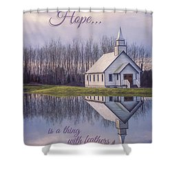 Hope Is A Thing With Feathers - Inspirational Art Shower Curtain by Jordan Blackstone