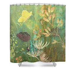 Shower Curtain featuring the painting Hopeful Golden Wings by Robin Maria Pedrero