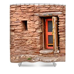 Hopi House Door Shower Curtain by Julie Niemela