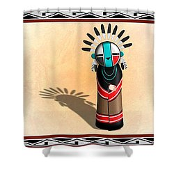 Hopi Sun Face Kachina Shower Curtain by John Wills