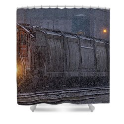 Hopper Cars Being Unloaded Shower Curtain