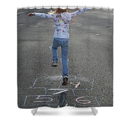Shower Curtain featuring the photograph Hopscotch Queen by Richard Bryce and Family